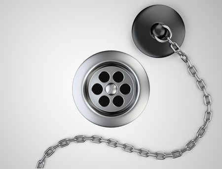 sink drain: Stainless steel sink drain and rubber plug with chain on a grey. 3d illustration.