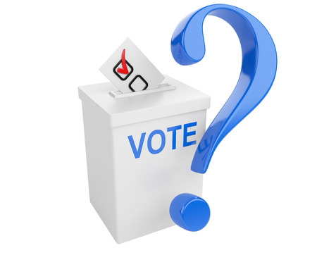 white bacground: Voting concept. Paper in the ballot box and blue question sign. 3d illustration isolated on a white bacground.