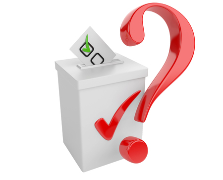 white bacground: Voting concept. Paper in the ballot box and red question sign. 3d illustration isolated on a white bacground.