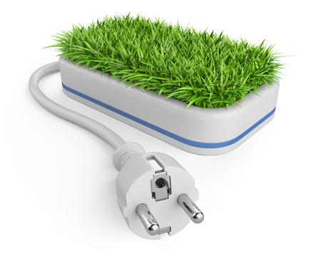 Green energy concept with plug and pot with grass. 3d illustration on a white background.