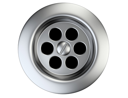 sink drain: Stainless steel sink drain isolated on a white. 3d illustration.