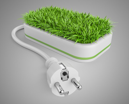 economize: Green energy concept with plug and pot with grass. 3d illustration on a grey background.