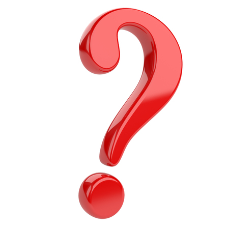 question: Red glossy question mark. Isolated on white backgrouind 3d illustration Stock Photo