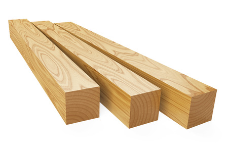 joist: Wooden beams. 3d illustration isolated on a white background.