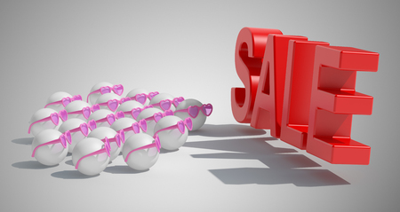 selloff: Group people in glasses and sale sign. The concept of a expectation large sell-off. 3d high resolution illustration.