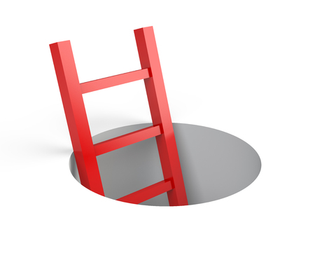 ladder: Ladder from round hole. Leadership concept. Illustration 3d rendering. Stock Photo
