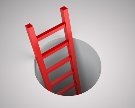 captivity: Ladder from round hole. Leadership concept. Illustration 3d rendering. Stock Photo