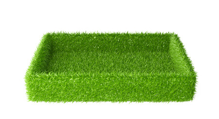 green grass: Box covered a green grass. 3d image isolated on a white background. Stock Photo
