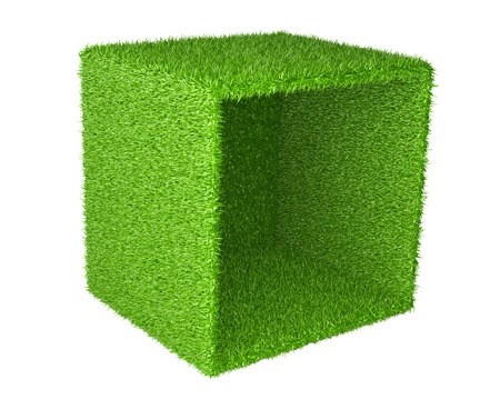 green grass: Big box inverted on the side covered a green grass. 3d image isolated on a white background. Stock Photo