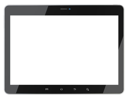 Black tablet with blank screen front view. Isolated on white background 3d image. Stock Photo