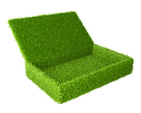 covered fields: Open box covered a green grass. 3d image isolated on a white background.