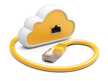 network cable: Cloud with a orange network plug. 3d illustration on a white background.