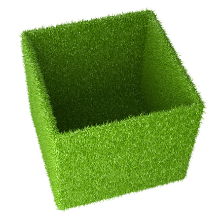 Big box covered a green grass. 3d image isolated on a white background.