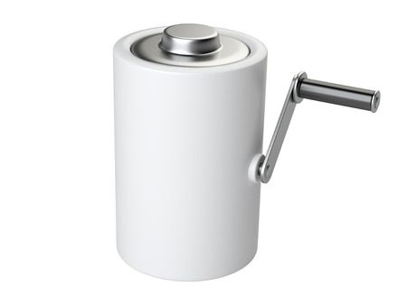 polarity: Concept of effective energy. Battery with the handle  for rotation and charge. 3d illustration Stock Photo
