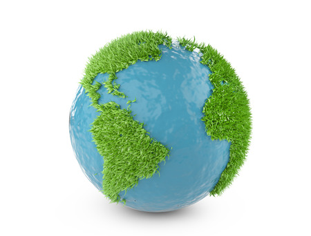 green world: Green world concept with continents covered grass. Isolated on white background 3d illustration.