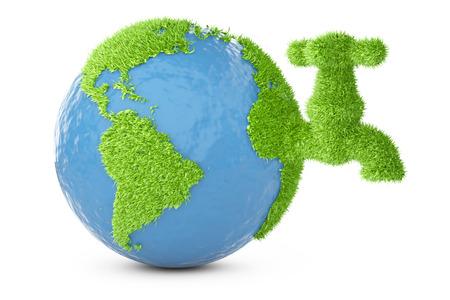 지구는 수도꼭지와 잔디에 덮여있다. 흰색 배경에 고립 된 3D 그림입니다.