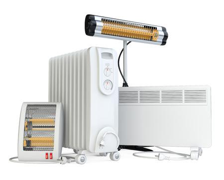 domowego sprzętu do ogrzewania, halogen lub podczerwieni, konwektor, kwarc i podgrzewacza oleju. Wysokiej jakości ilustracji 3d samodzielnie na białym tle. Zdjęcie Seryjne