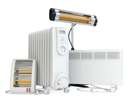 home equipment: Home equipment for heating, halogen or infrared, convector, quartz and oil heater. High quality 3d illustration isolated on a white background.