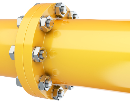 Flanges pipe with nuts and bolts. Pipeline for gas industry. 3d illustration isolated on white background. Stock Photo