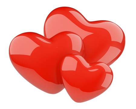 romance love: Three red hearts - love romance concept. 3d illustration rendering isolated on a white background image. Stock Photo