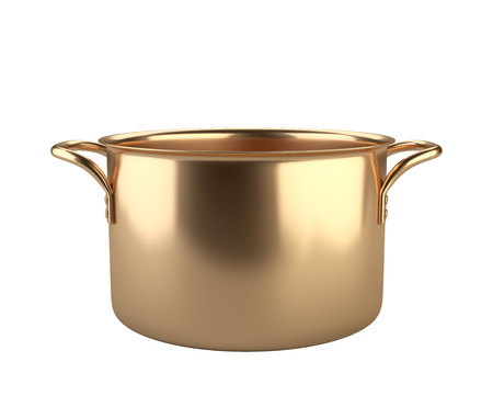 Gouden pan. Geïsoleerd op witte achtergrond 3D-afbeelding. Stockfoto
