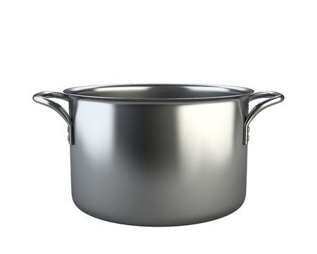 stainless: Stainless saucepan. Isolated over white background 3d image.