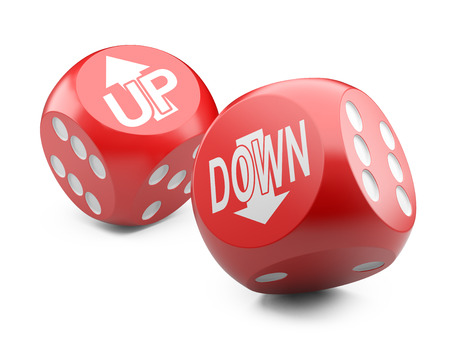 3d red game dices wit up an down arrow sign. Illustration isolated on a white background Stock Photo