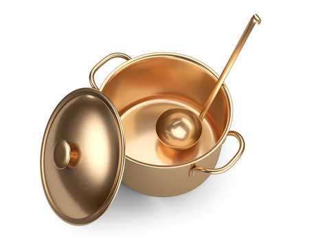 Golden saucepan, ladle and lid, top wiev. Isolated over white background 3d image. Stock Photo
