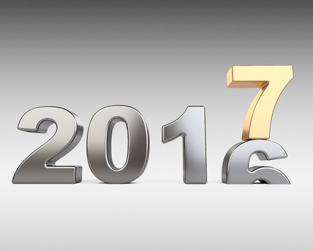 newyear: New Year 2016 - 2017, golden and silver number seven top. 3d illustration on a dark background.