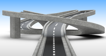 Highway junction, overpass. 3D Illustration with blue sky with high resolution.
