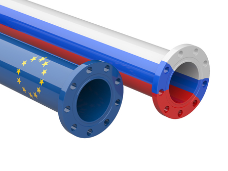 Russia - Europe  gas crisis concept. 3d illustration isolated on a white background. Stock Photo