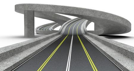 Giunzione autostradale, overpass. Illustrazione 3D ad alta risoluzione. Archivio Fotografico - 73169744