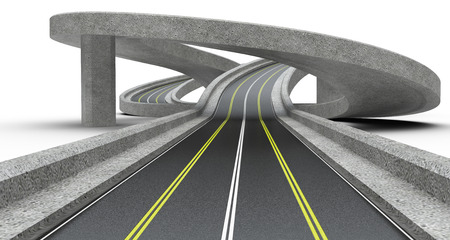 Highway junction, overpass. 3D Illustration high resolution. Imagens - 73169744