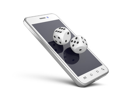 gamble: Smartphone with game dices. Online play concept. 3d illustration isolated on a white background.