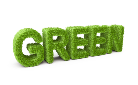 Text green covered grass. Isolated on white background 3d illustration.