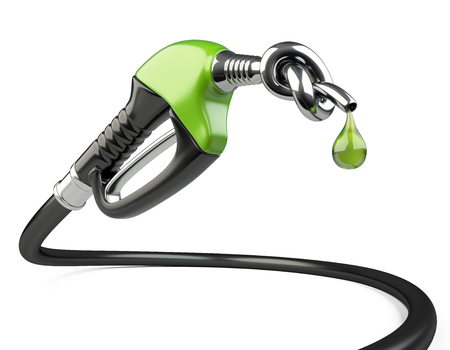 Gas nozzle pump with knot and drop. 3D illustration isolated on a white background.