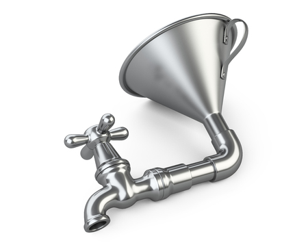 Steel funnel with faucet. 3D illustration isolated on white background.