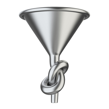 Metallick funnel knoted. 3D illustration isolated on a white background.