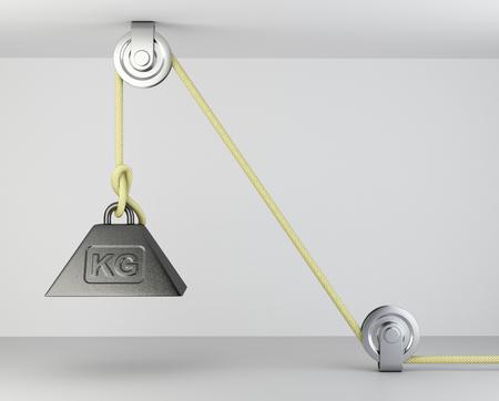 Gewicht met massasymbool vastgebonden op een roep- en bloksysteem. 3d illustratie op een grijze achtergrond. Stockfoto