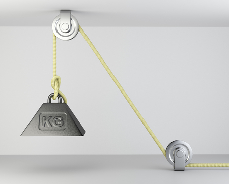 Weight with mass symbol tied on a roppe and block system. 3d illustration on a grey background. Stock Photo