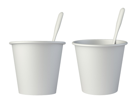 stirring: Paper coffe cup with stirring stick side view. 3d illustration isolated on a white background. Stock Photo
