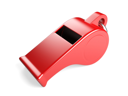 Classic red coaches Whistle. 3d illustration isolated on a white background. Stock Photo