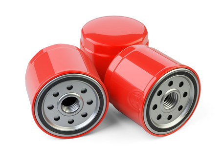 gasket: A set of new oil filters. Automobile spare part. 3d illustration isolate on white background.