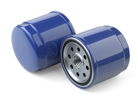 spare: A set of new oil filters. Automobile spare part. 3d illustration isolate on white background.