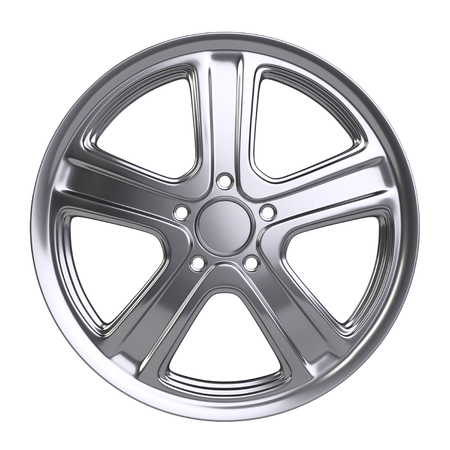 Aluminum alloy wheel. 3D illustration high quality resolution. Isolated on a white backround.