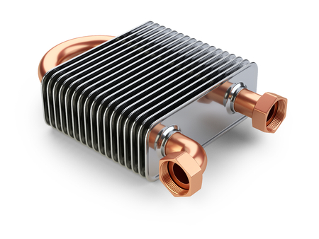 Heat exchanger with tubes for connection of Industrial cooling unit equipment. 3d illustratin on a white bacground. Stock Photo