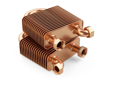 Heat exchangers with tubes for connection of Industrial cooling unit equipment. 3d illustratin on a white bacground Stock Photo