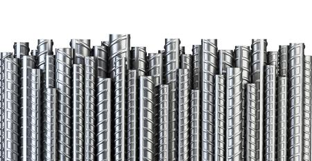 증원 군대의 강철 막대. 산업 배경입니다. 건물 뼈대. 3D 그림 흰색으로 격리합니다. 스톡 콘텐츠