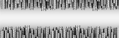 보강재는 2 열로 된 철근입니다. 산업 배경입니다. 건물 뼈대. 3D 그림 흰색으로 격리합니다.
