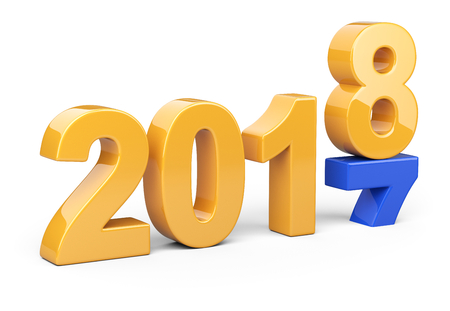 2017 2018 change concept. Represents the new year orange and blue symbol. 3D illustration isolated on white background.